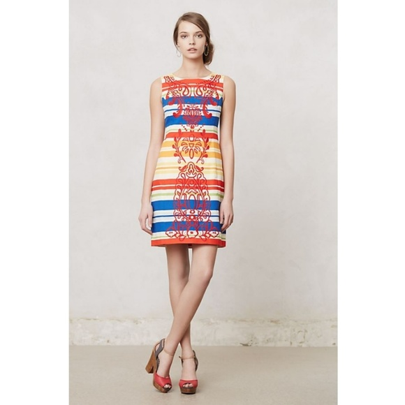Anthropologie Dresses & Skirts - Anthro Tabitha Embroidered Striped Shift Dress NEW